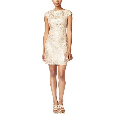 Adrianna Papell Womens Petites Semi-Formal Dress Metallic Sequined
