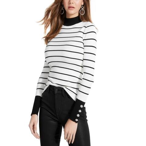 Guess Womens Rebekah Mock Turtleneck Sweater Striped Button - Grid Stripe Ivory