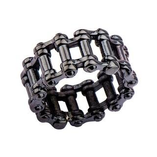 INOX Jewelry Men's Stainles Steel Black IP Motor Chain Design Ring