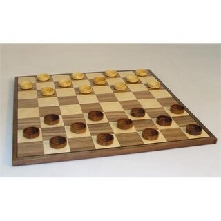15 in. Wood Sheesham-Boxwood Checkers on Walnut-Maple Veneer Inlai