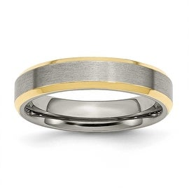 Titanium 5mm Gold-plated Beveled Edge, Brushed & Polished Band