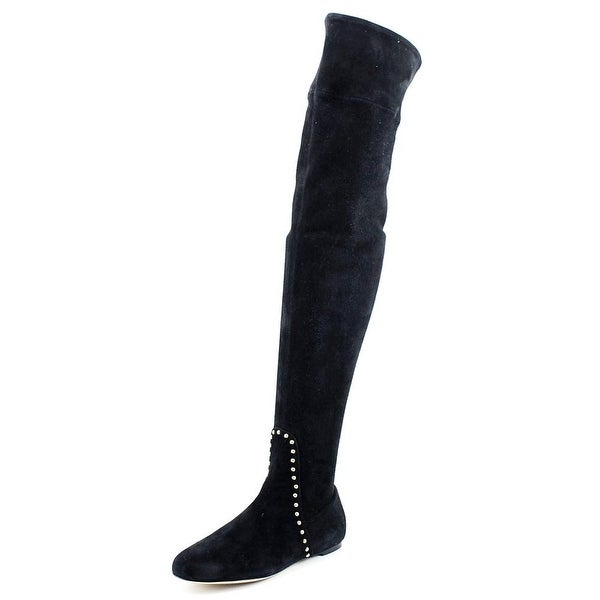 Charlotte Olympia Andie Women Round Toe Suede Black Over the Knee Boot