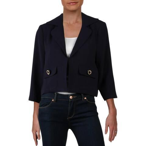 Julie Brown Womens Caroline Crop Blazer Suit Separate Business - New Navy