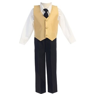 Baby Boys Gold Poly Silk Vest Tie 4 Pcs Special Occasion Set 6-24M