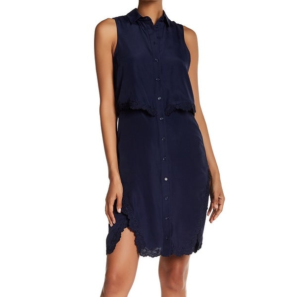 Parker Womens Medium Popover Lace-Trim Shirt Dress