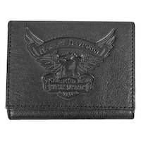 "Harley-Davidson Men's Eagle Emboss Leather Tri-Fold Wallet, Black EE9052L-BLK - 4.75"" x 3.75"""