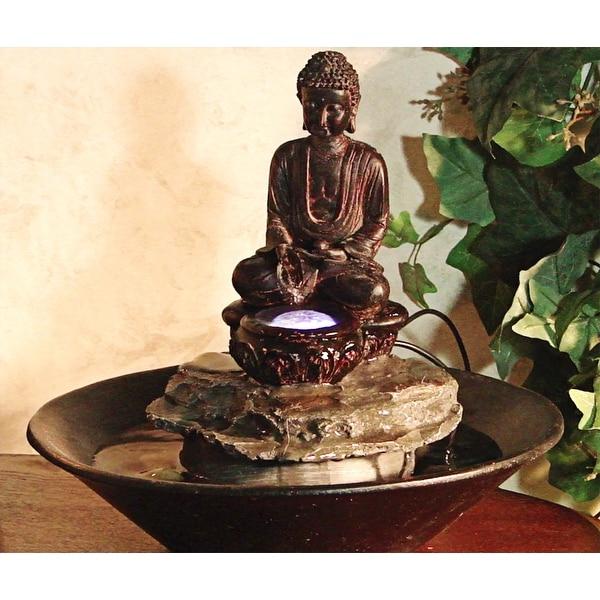 Alpine Garden Buddha Cobblestone Fountain w/ LED Light