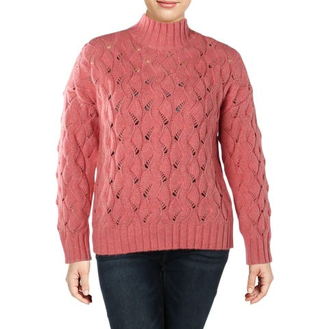 Vince Camuto Womens Plus Pullover Sweater Mock Neck Long Sleeves
