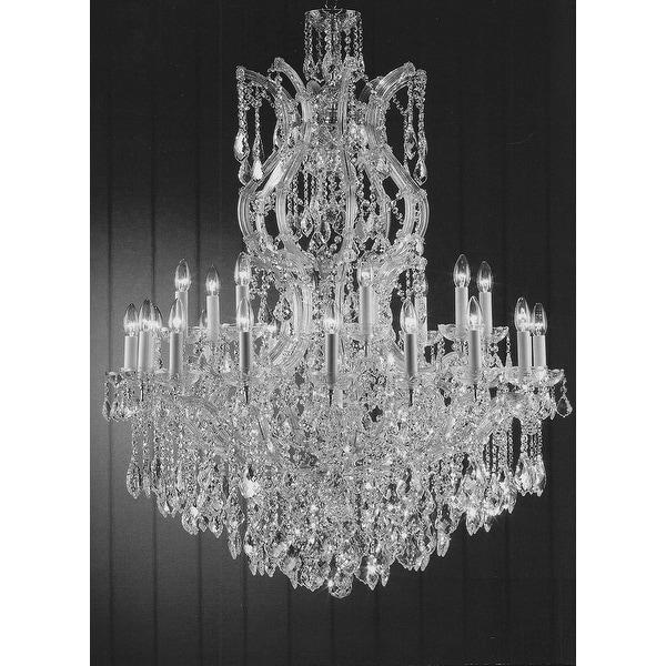 Swarovski Crystal Trimmed Maria Theresa Crystal Chandelier Lighting - Silver
