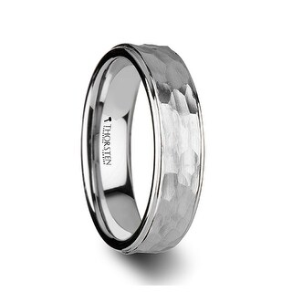 THORSTEN - WINSTON White Tungsten Ring with Raised Hammered Finish and Polished Step Edges - 4mm
