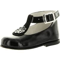 Oxford Girls 944 Made In Italy Dress T Strap Flats Shoes - Black