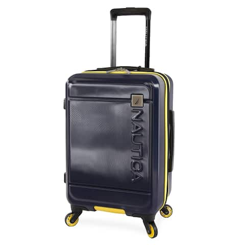 Nautica Roadie 21-inch Carry On Hardside Suitcase - Navy/Yellow