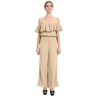 NE PEOPLE Women's Sexy Off The Shoulder Ruffle Wide Leg Long Pants Jumpsuits