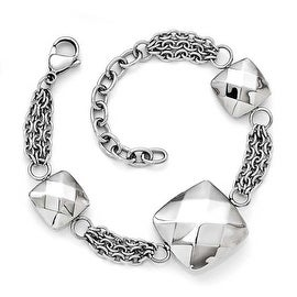 Chisel Stainless Steel Polished Hollow Squares with 2 inch Extenstion Bracelet