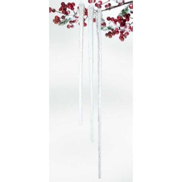 "Pack of 12 Snow Drift Clear Sparkly Glass Icicle Christmas Ornaments 10"" - 16"""