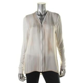 Elie Tahari Womens Ann Silk Zip Front Blouse