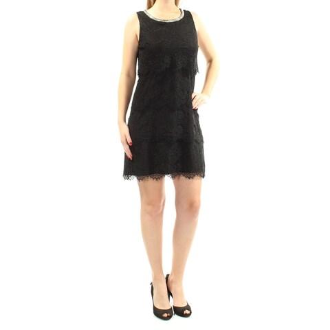 JESSICA SIMPSON Womens Black Lace Sleeveless Jewel Neck Above The Knee Sheath Dress Size: 8