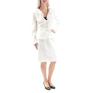 Womens Ivory Above The Knee Pencil Evening Skirt Suit Size 6