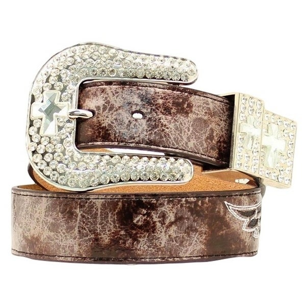Nocona Western Belt Womens Cross Wings Crystal Charcoal - marbled charcoal