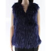 Anna & Chris Blue Black Womens Size Medium M Faux Fur Vest Jacket