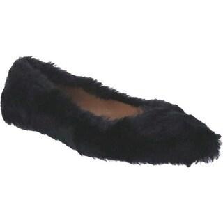 Penny Loves Kenny Women's Aaron Fuzzy Flat Black Faux Fur