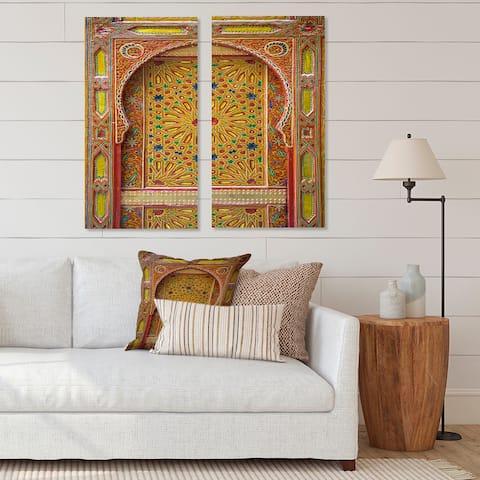 Designart 'Moroccan Entrance Door in Fez' Vintage Canvas Wall Art Print 2 Piece Set