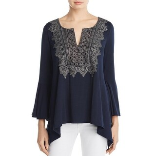 Elie Tahari Womens Blouse Metallic Lace