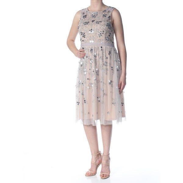 5690ea48 Shop ADRIANNA PAPELL Womens Beige Sequined Zippered Floral Sleeveless  Square Neck Midi Fit + Flare Formal Dress Size: 12 - On Sale - Free  Shipping Today ...