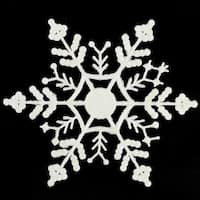 Club Pack of 144 White Glitter Snowflake Christmas Ornaments 6.25""