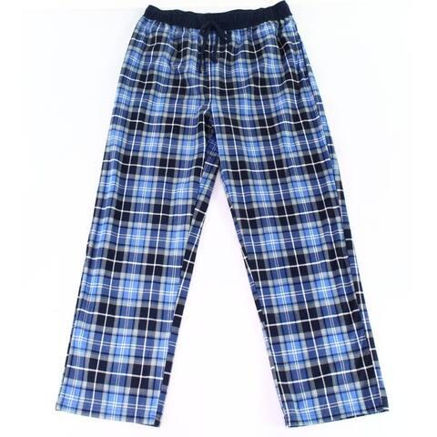 Nautica Men Sleepwear Blue Size Medium M Plaid-Print Fleece Lounge Pants