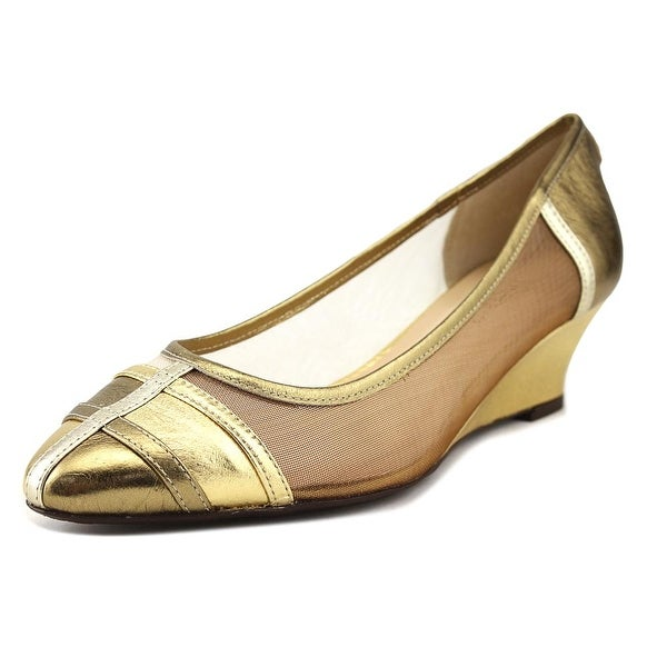 J. Renee Hallie Women Open Toe Synthetic Gold Wedge Sandal