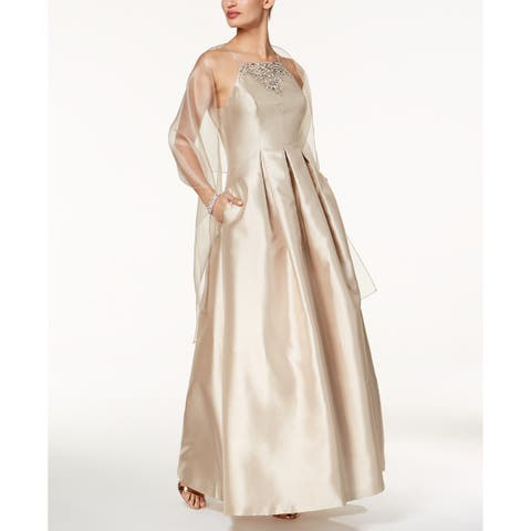 Vince Camuto Embellished Apron Gown, Champagne, 4