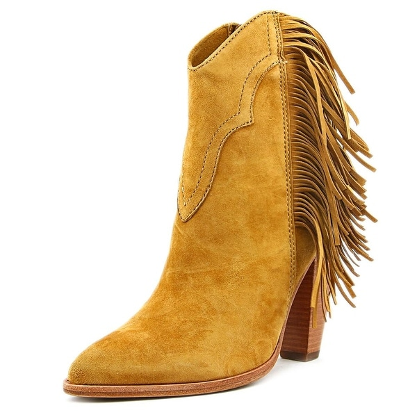 Frye Remy Fringe Short Women Pointed Toe Suede Brown Ankle Boot