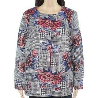 Alfani Womens Jacket Black Size 3X Plus Button Front Floral Print