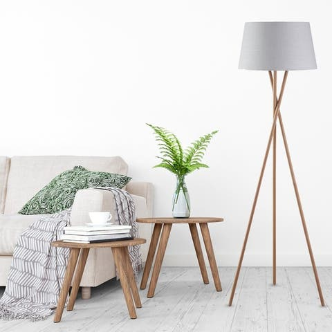 61-inch Wood Tripod Floor Lamp with Linen Shade By Archiology