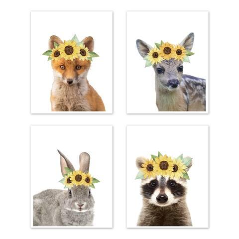 Sweet Jojo Designs Sunflower Woodland Forest Animal Wall Decor Art Prints (Set of 4) - Fox Deer Bunny Raccoon Boho Floral