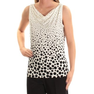 TOMMY HILFIGER Womens Ivory Polka Dot Sleeveless Cowl Neck Top Size: XL