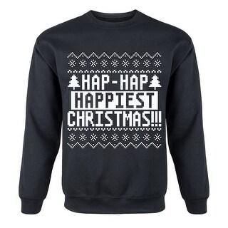 Hap Hap Happiest Christmas-Mens Crew Fleece Pullover