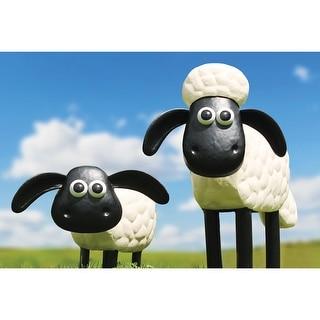 A. Perry Shaun The Sheep & Cousin Timmy Garden Sculptures - Steel Lawn Ornaments Garden Outdoor Decor Wallace & Gromit