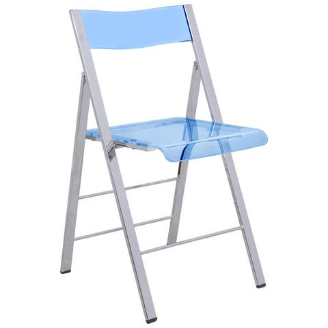 LeisureMod Menno Modern Acrylic Folding Chair with Chrome Frame