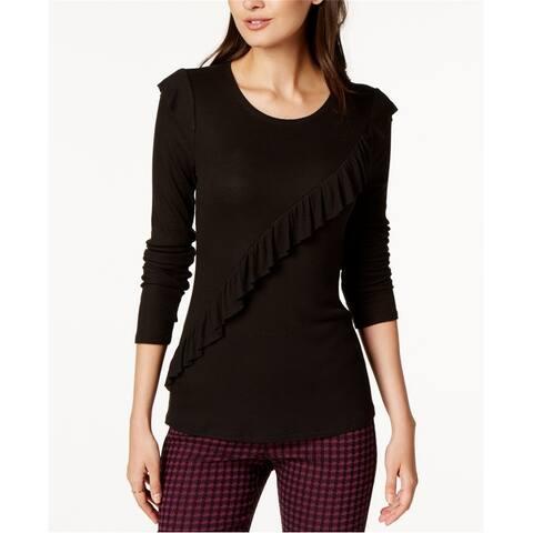 Maison Jules Womens Ruffle Basic T-Shirt