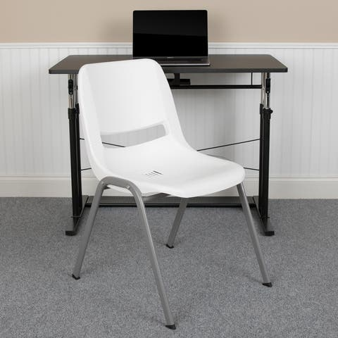 880 lb. Capacity Ergonomic Shell Stack Chair with Metal Frame