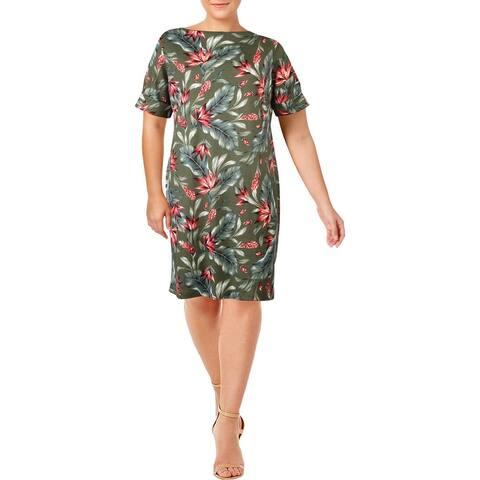 Karen Scott Sport Womens Plus T-Shirt Dress Floral Mini