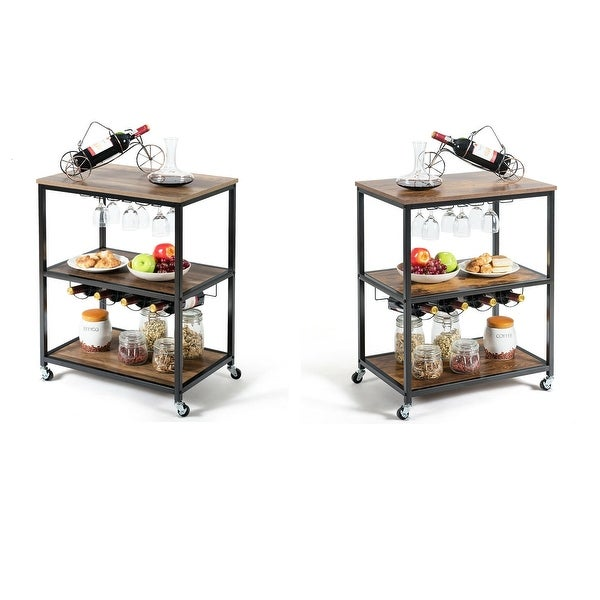 Gymax 3-Tier Rolling Kitchen Cart Utility Serving Bar Cart w/Glass Holder & Wine Rack