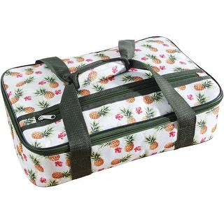 Palais Dinnerware Insulated Casserole Carrier - With Zip Closure with Strap and Side Pocket (Pineapple on White