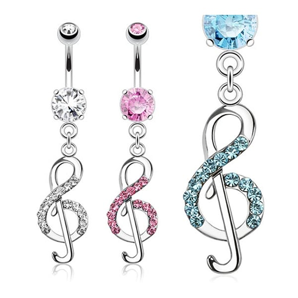 Treble Clef Music Note with Paved CZs Dangle Navel Belly Button Ring 316L Surgical Steel