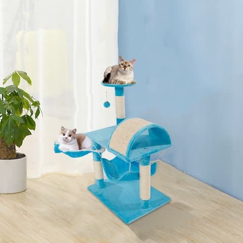 """28"""" / 32'' Stable Cute Sisal Cat Climb Holder Cat Tower Lamb Blue"""