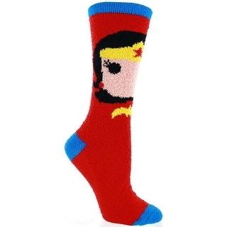 Wonder Woman Fuzzy Juniors Red Socks
