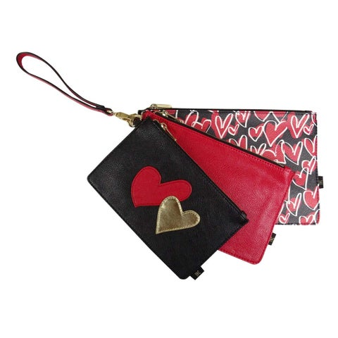 INC International Concepts Women's Set of 3 Faux Leather Pouches (OS, Red) - Red - os