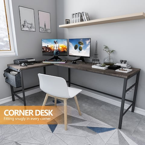 TiramisuBest L-Shaped Computer Desk with Storage Bag and Iron Hook